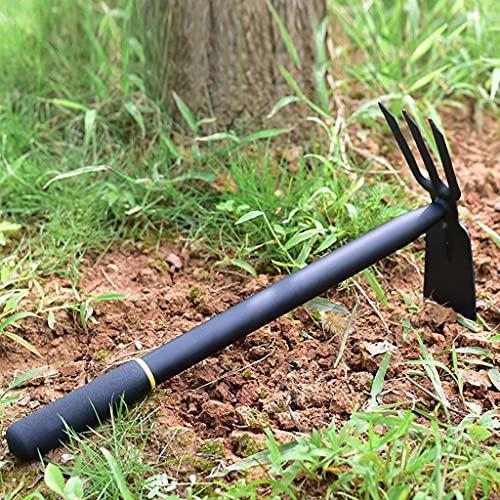 LJM Azada cultivadora Resistente y Afilada con Mango Antideslizante Herramienta de jardín de Acero Inoxidable Resistente para escardar excavar etc.