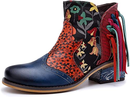 Ruanyi Stiefel de damen, Nuevo Estampado de Flores de Cuero con Borla decoración Estilo Casual Moda Stiefel de Vaquero para Damas (Farbe   Blau, Größe   38EU)