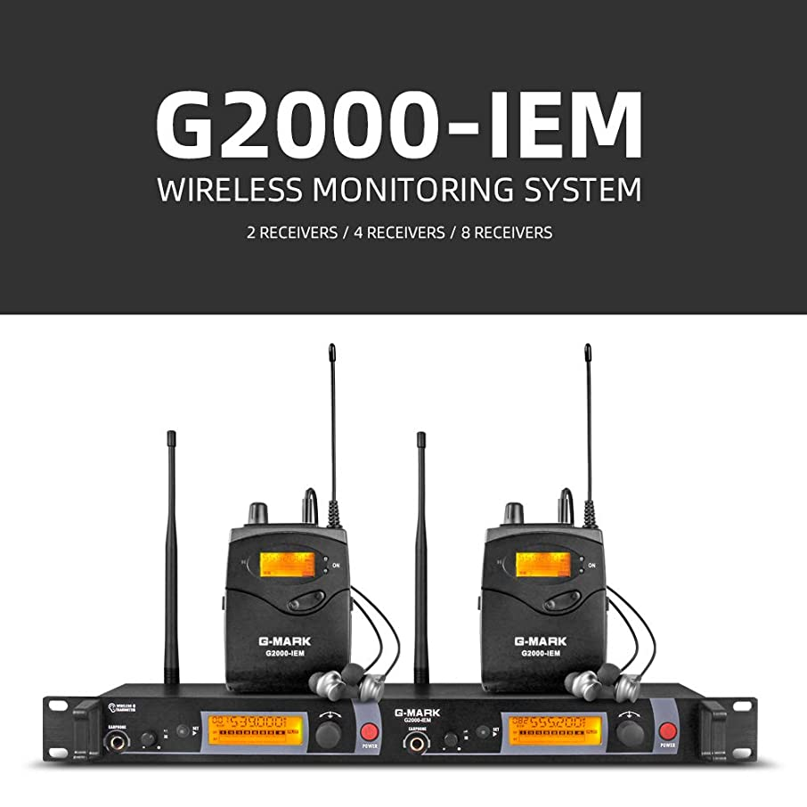 G-MARK G2000iem wireless In Ear Monitor System 2 Channel 2 Bodypack Monitoring with in earphone wireless monitor Type Whole Metal used for stage or studio