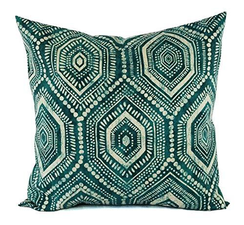 Fundas de almohada para exteriores, color verde azulado, funda de almohada geométrica, color azul y verde, 45 x 45 cm