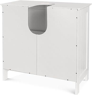 En casa ® Armoire de rangement Sous Armoire Lavabo Salle de bains Blanc 60x60x30cm
