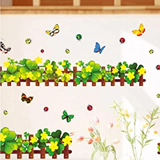 Removable Baseboard Fence Butterfly Waterproof Art Vinyl Wall Stickers Home Decor Kids Skirting Living Room Bedroom Mural ...