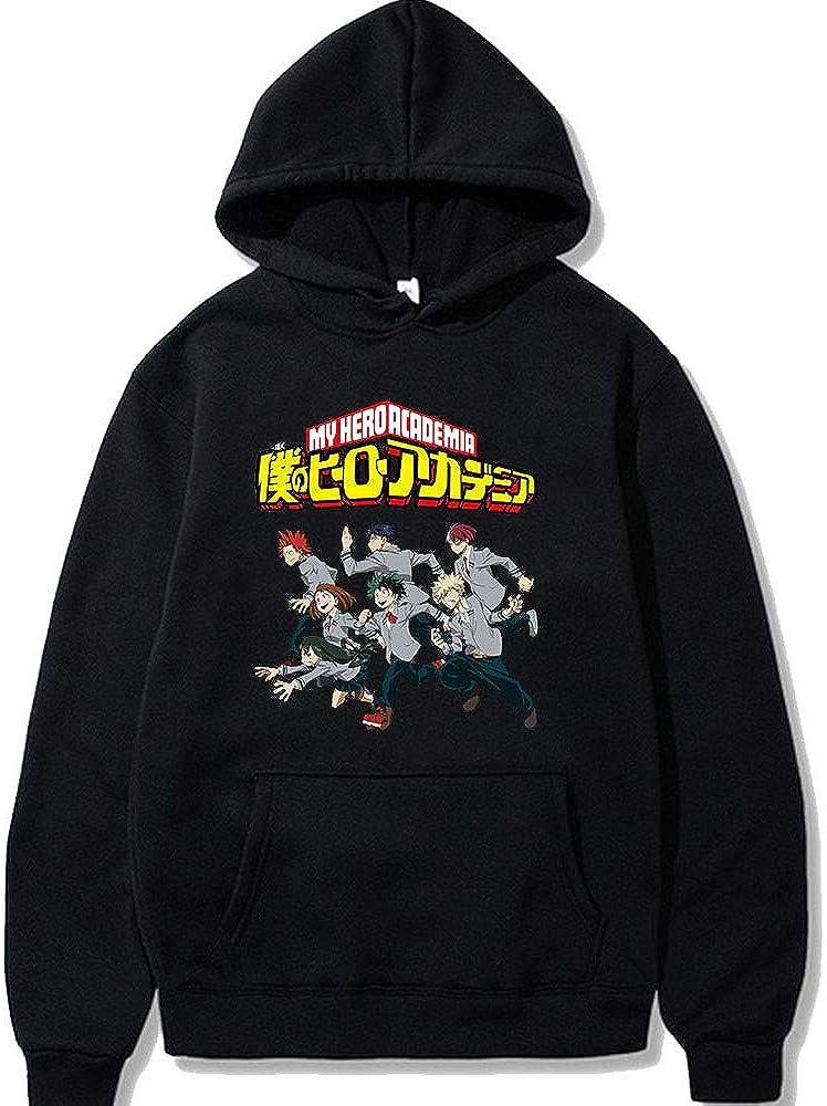 Anime Merch My Hero Academia Hoodies Pullover Sweatshirts Casual Drawstring Hooded Classic Crewneck Sweater