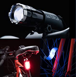 Gator LG Bike Light Set, Super Bright Front Headlight and Tail Light Led Bicycle Light with 2 Bike Wheel Lights. Waterproof and Easy to Install. Safe Road Cycling for Kids Men & Women.