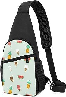 Mochila de verano con patrón de eslinga, ligera para el hombro, mochila para el pecho, bolsa cruzada, para viajes, senderi...