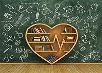 laeacco 10x 6.5ft Back to Schoolクリエイティブハート型Bookshelf Backdropチョーク図面ブラックボードShabby Wood Floor写真背景子供学生フォトスタジオ小道具Bookshelf Books High School