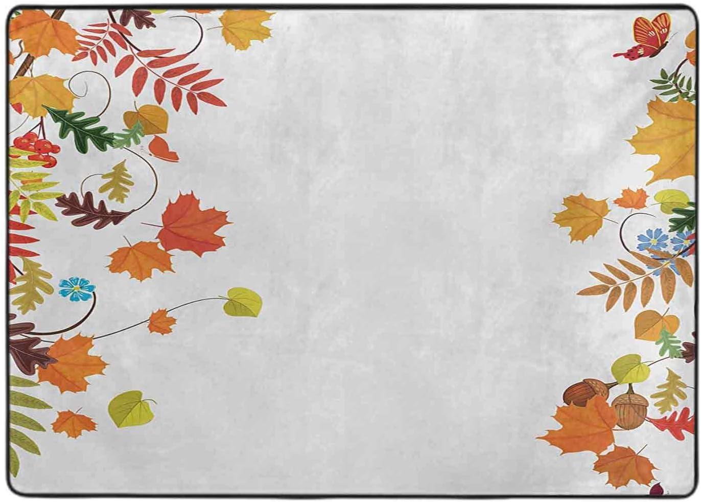 Print Area Bombing new work Rug Colorful Seasonal Frame Fall Ranking TOP6 Maple Aspen Leaves