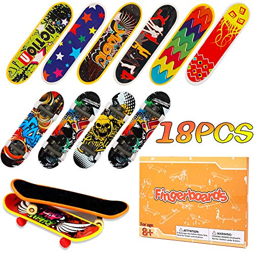 HEHALI 18pcs Finger Skateboards Professional Mini Fingerboards Toy Party Favors for Kids, Christmas Birthday Gifts (12 Normal + 6 Matte)