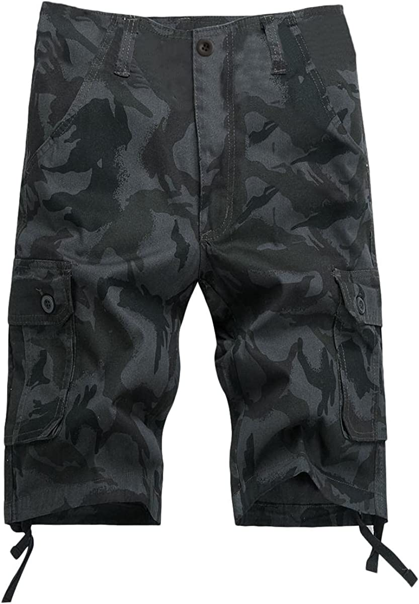 Men's Camouflage Cargo Shorts Summer Fashion Multi-Pocket Overalls Solid Color Loose Zipper Casual Short Pants - Limsea