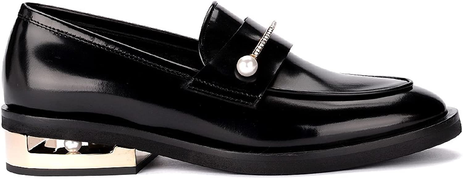 Coliac Woman's Abby Black Leather Loafer with Jewel