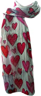New Company Womens Valentines Day Hearts Scarf - White - One Size
