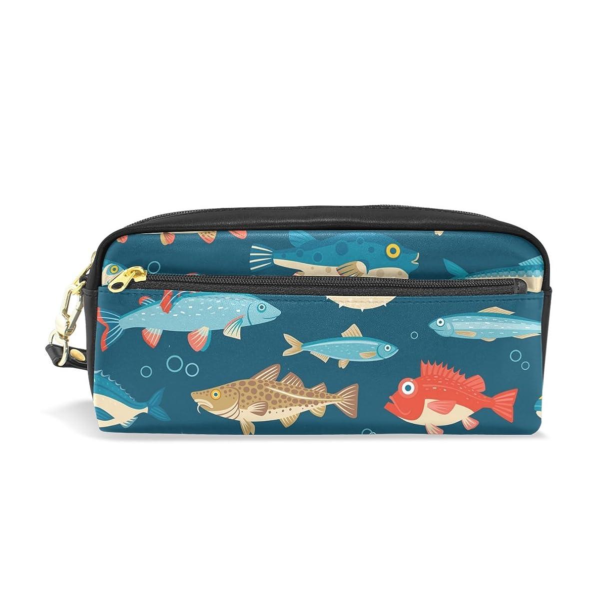 AOMOKI ペンケース 化粧ポーチ 小物入り 多機能バッグ 魚 カラフル