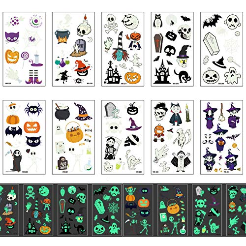 Halloween Temporary Tattoos for Kids, TEOYALL 10 Sheets Luminous Halloween Tattoos Stickers for Children Halloween Party Decoration Pumpkin Witch Skull Skeleton Cat Designs