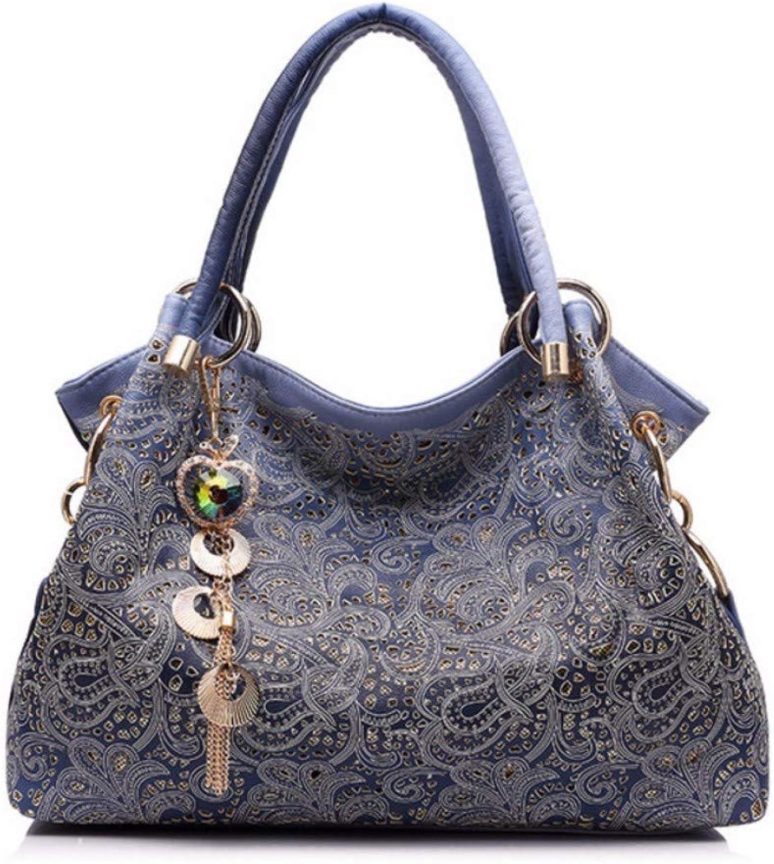 JQSM Women Handbags Hollow Out Ombre Floral Print Shoulder Crossbody Bags Ladies pu Leather Totes Fashion Messenger Bag Female
