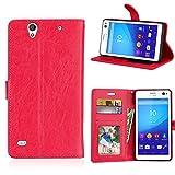 Fatcatparadise Kompatibel mit Sony Xperia C4 Hülle + Bildschirmschutz, Flip Wallet Hülle mit Kartenhalter & Magnetverschluss Halterung PU Leder Hülle handyhülle (Rot)