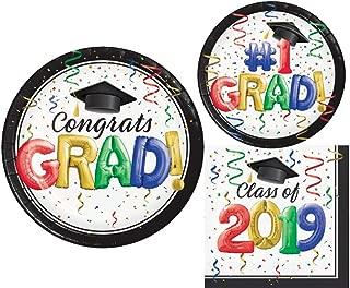 2019 Graduation Party Supply Pack for 18 Guests - Bundle Includes Paper Plates & Napkins - #1 Grad Design