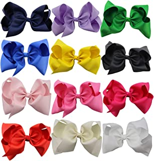 QtGirl 12pcs 8 Inches Hair Bows for Girls Large Grosgrain Ribbon Boutique Hair Bow Clips for Teens Kids Toddlers Children