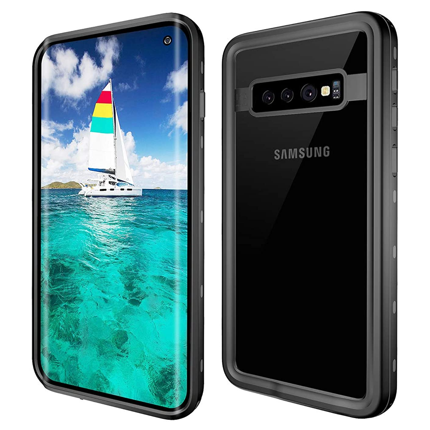 HONTECH Compatible Samsung Galaxy S10 Case, Galaxy S10 Waterproof Case, Full Body Shockproof Support Wireless Charging Snowproof Dirtproof Cover, Clear Black