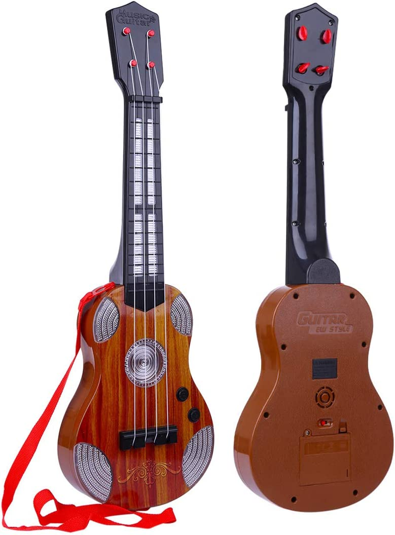 Kedoung Kids Guitar for Girls Boys Beginners with 4 Nylon String Brown Toddler Electric Toy Guitar for Kids Ages 3-5 with Music and Light