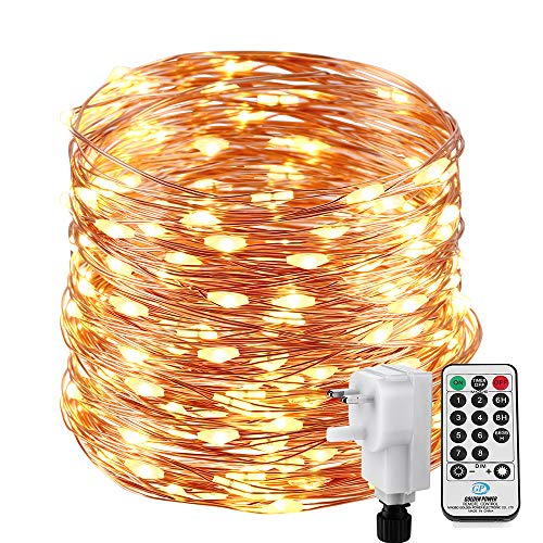 Fairy Lights Plug in, NEXVIN 72ft/22M 200 LED Copper Wire Fairy Lights Mains Powered Warm White, Waterproof String Lights with Remote for Outdoor Garden Bedroom Party Indoor Decorations
