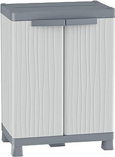 Terry Base 700 UW Armoire d'Intérieur et d'Extérieur à 2 Portes, 2 Étagères et 2 Bacs, Gris, 43,8x97,6x70 cm