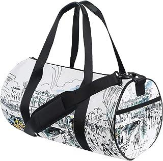ALLMILL Lightweight Duffle bag City Landscape Walk On Quay Concert Gym bags Oversize Sports bags weekend Overnight Travel handbag for men women student