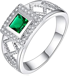 Coco-Z New Women Sleek Minimalist Couple Pair Green Diamonds Set Zircon Square Openwork Ring, Overseas Import Products Specialty Store