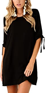 7ac8dfb31ef Nimpansa Women Shift Mini Dress Chiffon Plus Size Drawstring Sleeve Daily  Dresses