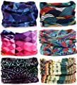 KALILY 9pcs/6pcs Headwear Wide Headbands Scarf Head Wrap Mask Sweatband -12 in 1 Multifunctional Sport Headband Neck Warmer for Yoga, Camping, Fishing, Hiking, Running, Motorcycling, Skiing by