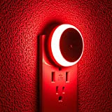 SerieCozy LED Night Light, with Dusk to Dawn Sensor, Diffused Light, Energy Efficient, Red Night Light, Plug in Night Light for Bedroom, Bathroom, Kitchen, Hallway, Stairs, Kids Room, Red, 2 Pack