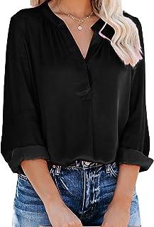 Yidarton Women's Long Sleeve V Neck Chiffon Blouses Tops Pleated Button Down Business Shirts