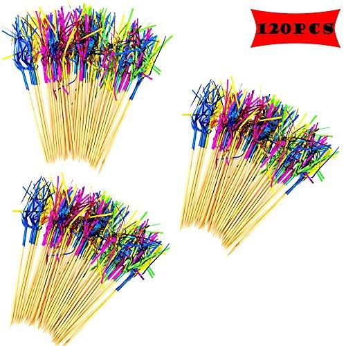 Her Kindness 120 Piezas Fuegos Artificiales Palillos Selecciones de cóctel,Palillos de Cóctel Multicolor,para Decoración de Pasteles Artículos para Fiestas Decoración Navideña