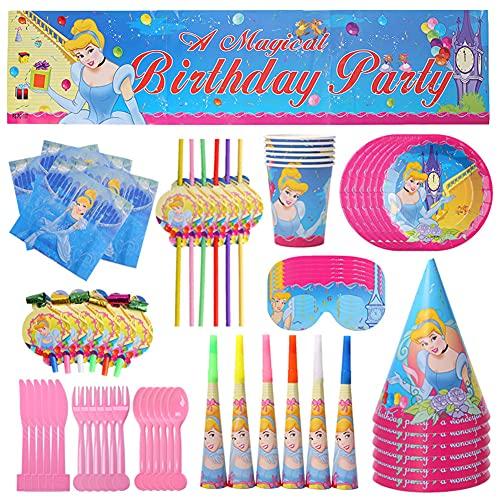 CYSJ Princess Cumpleaños Vajilla Decoraciones, 71 Piezas Party Suministros,para Fiestas Princesa Desechable, Vajilla de Cumpleaños,Vajilla de Fiesta TemÁTica de Disney