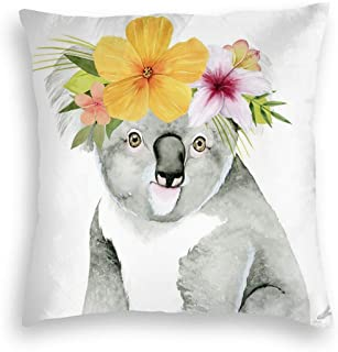 MINIOZE Yellow Flower Garland Koala Animal Print Velvet Soft Square Pillow Covers Home Decor Cushion Covers Decorations Gifts Pillowcase for Indoor Sofa Bedroom Car 18 X 18 Inch