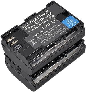 BTBAI Compatible 2x LP-E6 E6N Battery for LPE6 LPE6N EOS 5D Mark 2 3 4 5D Mark II III IV 6D Mark II 6D Mark 2 5Ds R 5Ds 60...