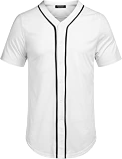 COOFANDY Men's Baseball Button Down Jersey Short Sleeve Hipster Hip Hop T Shirts