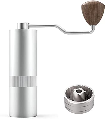JUNOESQUE Manual Burr Coffee Grinder JM38 Series Stainless Steel Pentagon Conical Burr with Adjustable Setting for Pour-Over, Consistency Grinding, Silver