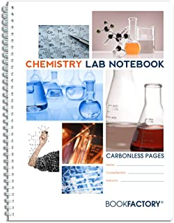 "BookFactory Carbonless Chemistry Lab Notebook - 50 Sets of Pages (8.5"" X 11"") (Duplicator) - Scientific Grid Pages, Durable Translucent Cover, Wire-O Binding (LAB-050-7GW-D (Chemistry))"