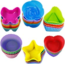 42 pcs Silicone Cupcake Baking Cups, SENHAI Non-Stick Heat Resistant Cake Molds Ice Cube Molds for Making Muffin Chocolate...