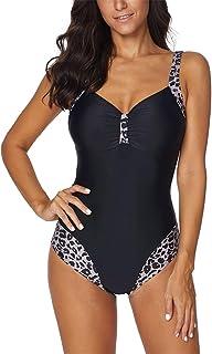 Stynice Women's Slimming One-Piece Swimsuit Push Up Sporty Beachwear Leopard Print