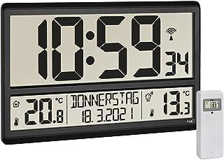 TFA Dostmann 60.4521.01 - Reloj de Pared Digital XL con Temperatura Exterior, Temperatura Interior, día de la Semana (8 Id...