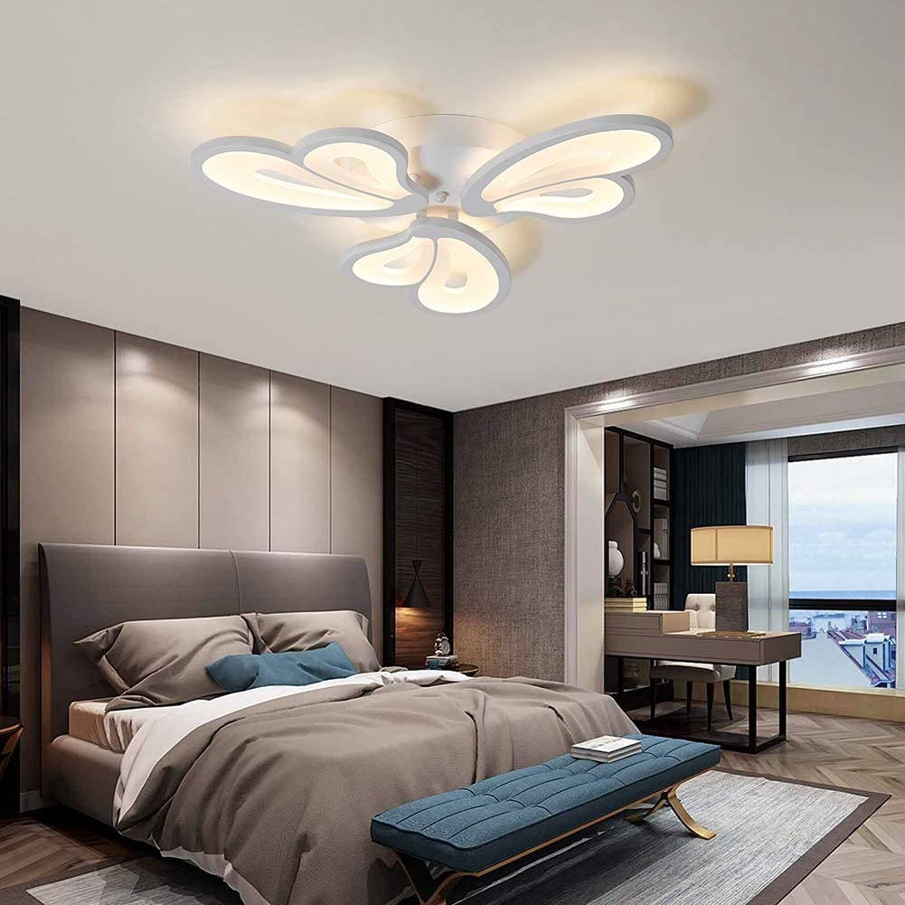 OKES Modern Ceiling Light LED Ceiling lamp is Used for Bedroom and Children's Room Corridor Balcony Entrance 24W Ceiling Petals Close to The Ceiling Lamps (3-Lights)