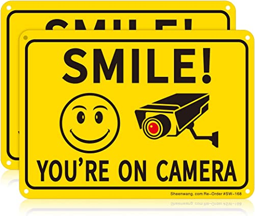 Sheenwang 2-Pack Smile You're on Camera Sign, Video Surveillance Signs Outdoor, UV Printed .040 Mil Rust Free Aluminu...