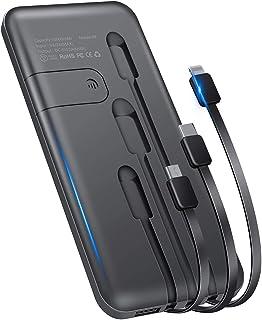 モバイルバッテリー 10000mAh 新版 大容量 3ケーブル内蔵(Lightning+Micro USB+Type C) 軽量 薄型 急速充電 スマホ充電器 携帯バッテリー 持ち運び便利 4台同時充電でき 残量表示 スタンド機能搭載 防災グッ...