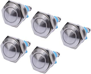 WerFamily 5 Pcs 16mm Waterproof Momentary Stainless Steel Metal Push Button Switches 250V 3A 1NO SPST Round Top