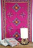Guru-Shop Mantón Bordado con Espejo, Mantón de Pared, Pareo - Rosa, Algodón, 220x110 cm, Colchas de Mandala Toallas de Pared