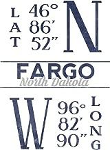 Fargo, North Dakota - Latitude and Longitude (Blue) (16x24 Fine Art Giclee Gallery Print, Home Wall Decor Artwork Poster)