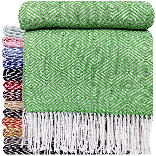 STTS International Baumwolldecke Wohndecke Kuscheldecke Tagesdecke 100% Baumwolle 140 x 200 cm sehr weiches Plaid Rio (Grün-V)