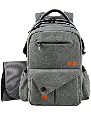 HapTim Multi-Function Large Baby Diaper Bag Backpack W/Stroller Straps-Insulated Bottle Pockets-Changing Pad,Stylish & Durable