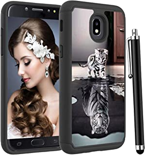 Voanice for Samsung Galaxy J3 orbit Case /J3 Star /J3 Achieve/J3 2018/J3 V 3rd Gen/Express Prime 3/Amp Prime 3,Heavy Duty Hybrid Shockproof Protective Silicone+Hard PC Phone Cover&Stylus-Cat and Tiger